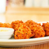 Cheese balls with sauce — Stock Photo