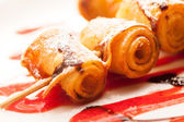 Pancakes rolls for kids — Stock Photo