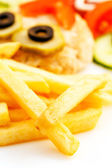 French fries with cutlet for kids menu — Stock Photo
