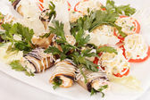 Vegetables stuffed with cottage cheese — Stock Photo