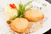 Chicken cutlet with  potatoes — Stock Photo