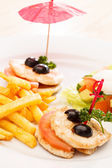 Chicken with french fries for kids menu — Stock Photo
