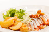 Matjes with Potatoes and Mayonnaise — Stock Photo
