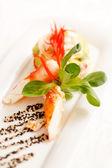 Kamchatka crab with salad — Stock Photo