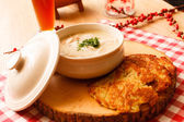 Potato pancakes with sause — Stock Photo