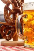 German pretzel bread with beer — Stock Photo