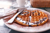 Waffle with chocolate — Stock Photo
