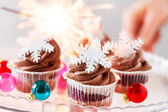 Christmas cupcakes — Stock Photo