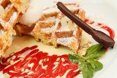 Belgian waffles with raspberry jam — Stock Photo