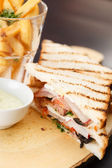 Sandwich with french fries — Stock Photo