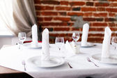 Tables set for meal — Stock Photo
