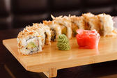 Sushi on the wood board — Photo