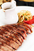 Steak in the bar — Stock Photo