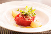 Meat Carpaccio with Parmesan Cheese — Stock Photo