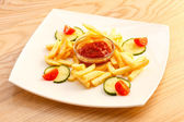French Fries with ketchup — Stock Photo