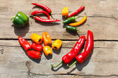 Different kinds of pepper — Stock Photo