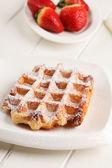 Belgian waffles with fresh strawberries — Stock Photo