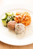Meatballs with cabbage — Stock Photo