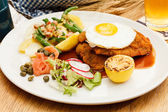 Wiener Schnitzel with Potatoes — Stock Photo