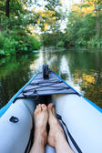Kayak on a small river — Stock Photo