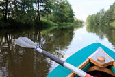 Kayak on a small river — Stock fotografie