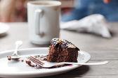 Coffee with brownie — Stock Photo