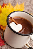 Hot chocolate in metal cup — Stock Photo