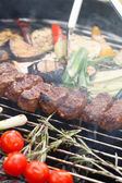 Grilled kebab and vegetables — Stockfoto