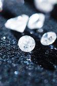 Diamonds on black — Stock Photo