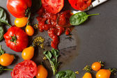 Fresh tomatoes with sauce — Stock Photo