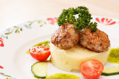 Meat cutlet with mashed potatoes — Stock Photo