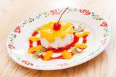 Panna cotta dessert for kids — Stock Photo
