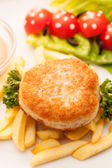 French fries with cutlet — Stock Photo