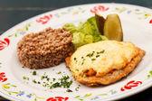 Schnitzel with buckwheat — Stock Photo