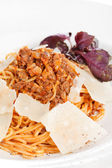 Pasta with meat sauce — Stock Photo