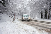 Winter Driving in Snow — Stock Photo