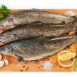 Stock Photo: Raw fish (brown trout)