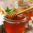 Honey pots and dipper  — Stock Photo