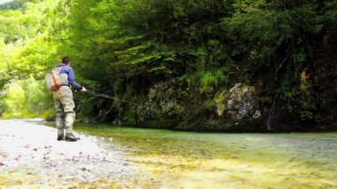 Fly fishing — Vídeo Stock