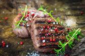 Juicy Fillet Steak with Fresh Herbs — Stock Photo