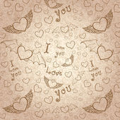 Love you seamless sepia on paper — Stock Vector