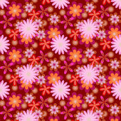 Simply seamless pink flowers on dark background — Stockvektor
