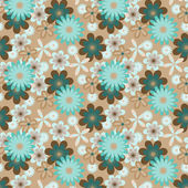 Simply seamless blue flowers on beige background — Stockvektor