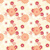 Simply seamless red flowers on peach background — Stockvektor