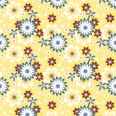 Simply seamless white flowers on yellow background — Stockvektor