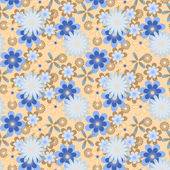 Simply seamless blue flowers on peach background — Stockvektor