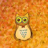 Cute cartoon owl on Halloween background — Stock Vector