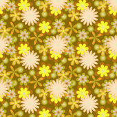 Simply seamless yellow flowers on brown background — Stockvektor