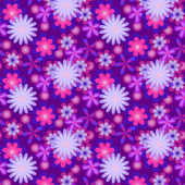 Simply seamless blue flowers on violet background — Stockvektor