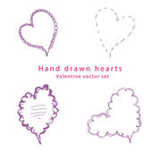 Hand drawn heart valentine vector set — Stock Vector